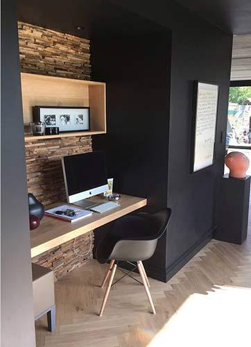 Desk built in alcove