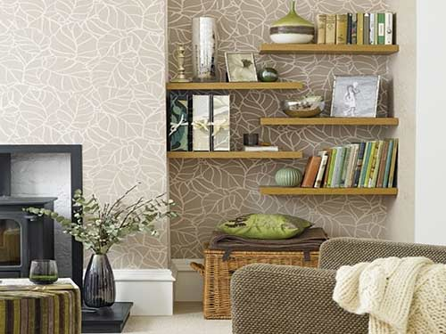 Floating shelves on alcove wall