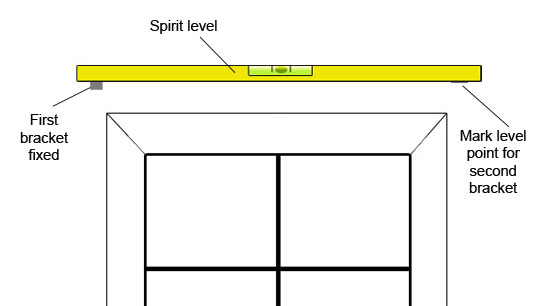 Leveling second bracket with spirit level