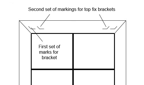 Marking for top fix brackets in recess