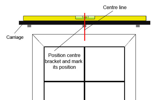 Position third centre bracket and mark