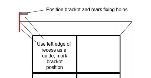 Measure and mark bracket position from edge of window recess