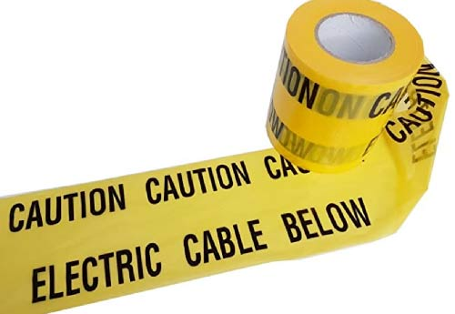 Yellow electrical cable trench warning tape