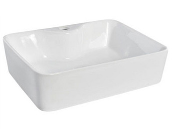 Countertop basin sunk into bathroom counter