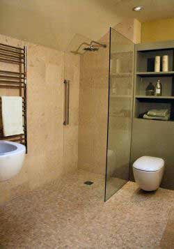 Typical wetroom tiled floor to ceiling