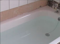 Bath filled with water ready for sealing and tiling