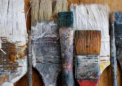 Old watse paint brushes