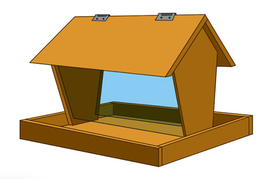 Bird table with feading trough