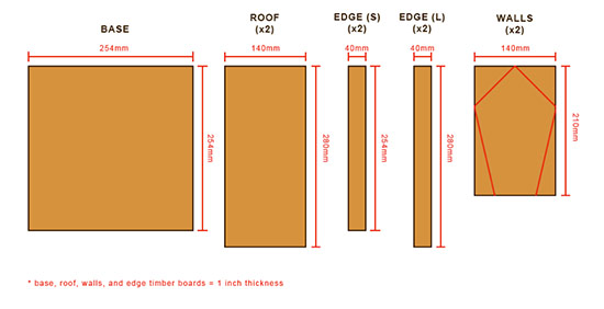 Cutting diagram for bird table with feeder