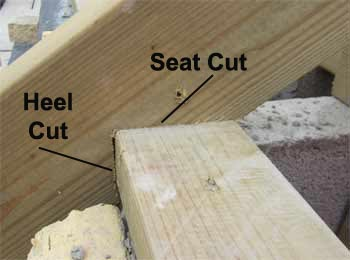 Birdsmouth joint notched onto wallplate showing seat and heel cuts