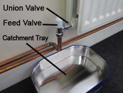 Radiator Feed and Union Valves with catchment tray