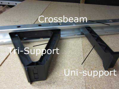 Tri supports and uni supports hold lightweight steel joist sections to provide a very solid loft floor