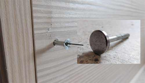 Mirror screws used for gaining access and tidying up