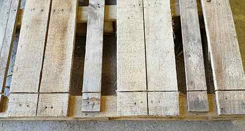 Pallet slats cut through
