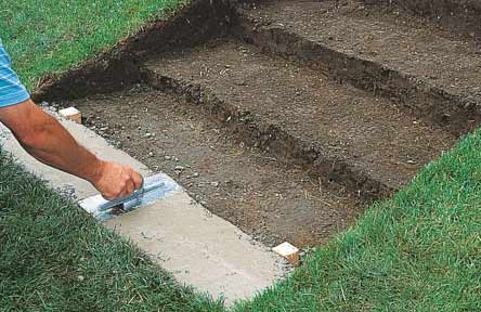 Footing formed under first step