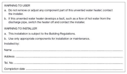 Hot water storage system marking