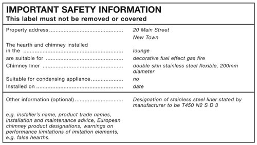Notice for flues and hearths