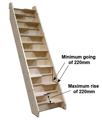 Alternating tread or space saving stairs