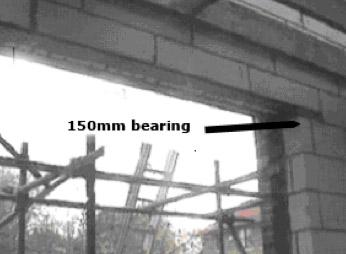 Cavity lintel with 150mm bearing