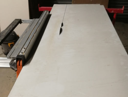 Cutting MDF sheeting down using a table saw
