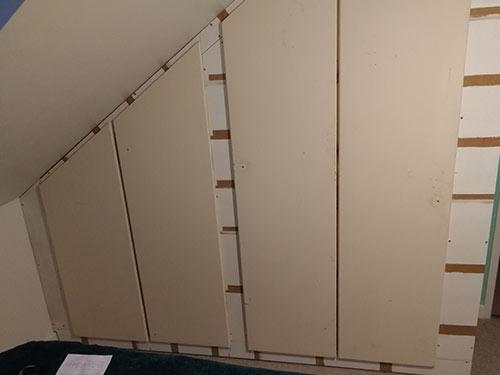 Doors hung on wardrobe framework