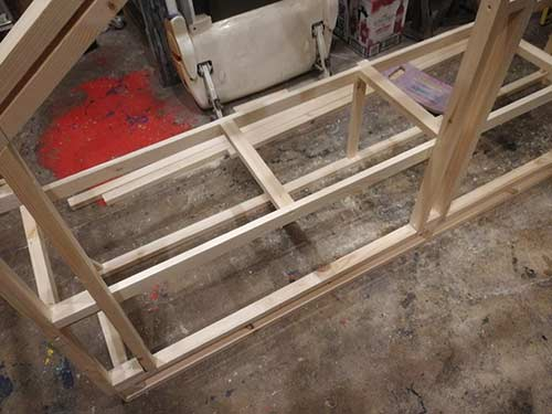 Shelf bracing and frame supports fixed in place
