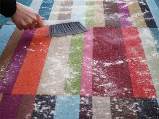 Dry cleaning a carpet