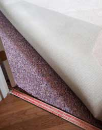 Example of using underlay under a carpet