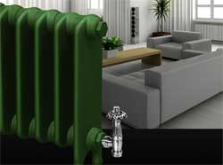 Cast iron radiator in a modern contemporary room