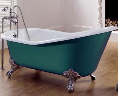 Cast iron bath with taps on standpipes