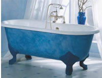 Painted cast iron bath and feet