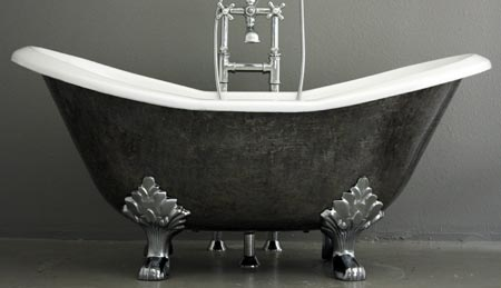 Double slipper style cast iron bath tub