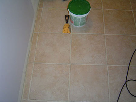 Tiled bathroom floor