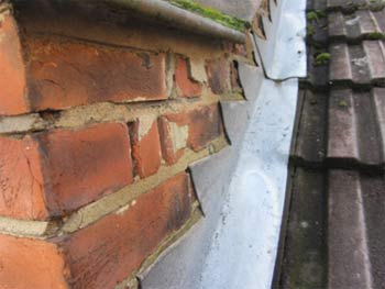 Lead flashing around chimney stack