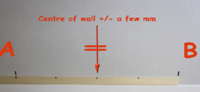 Setting out the centre line of a bathroom or kitchen wall for tiling