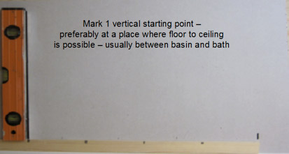 Get your first line of tiles perfect by using a vertical line