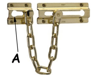 Close up of security chain frame bracket and position of the chain