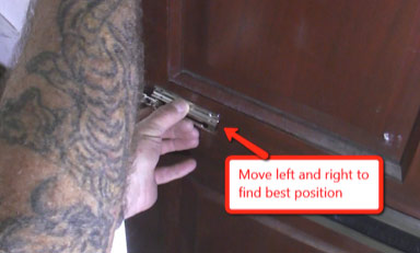 Set the position of the security door chain keep