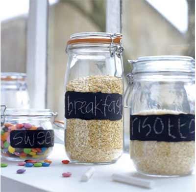 Chalkboard painted storage jars