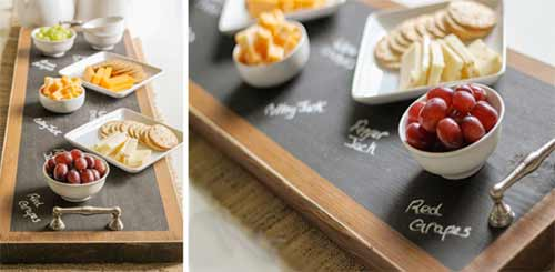 Chalkboard painted serving trays