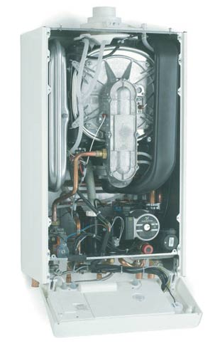 Combi boiler with front panel removed