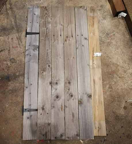 Hinges added to chicken coop door