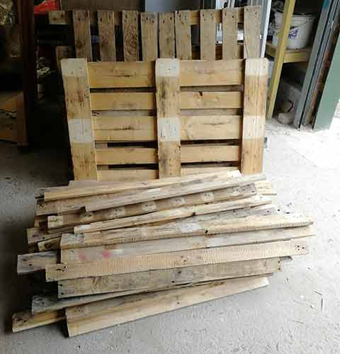 Pallets all de-nailed and ready