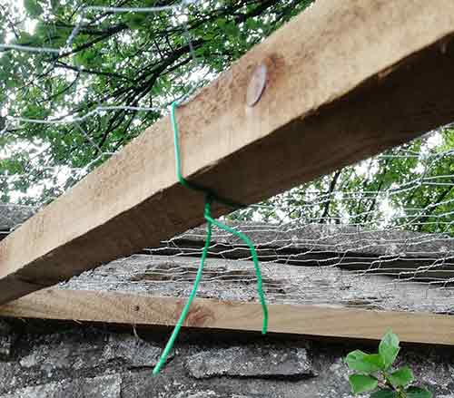 Garden wire used to secure chicken wire to timber