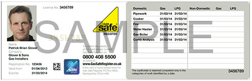 Example of a Gas Safe Registration Card
