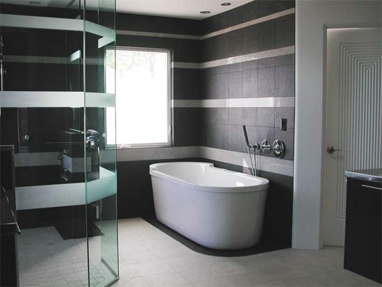 Black and white themed bathroom
