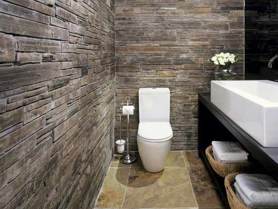 Rustic and natural tiled bathroom
