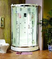 Chrome corner shower unit
