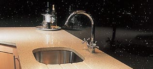 Sealed and polished granite sink worktop area