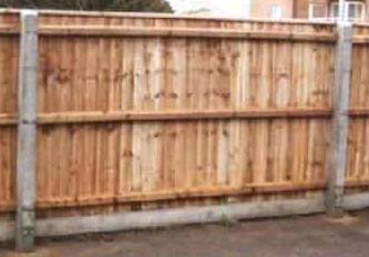 Close Board Fencing installed using concrete posts